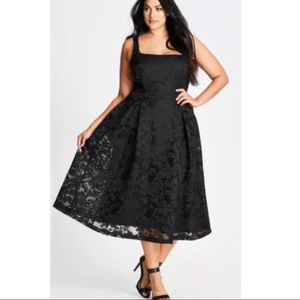 City Chic Jackie O Lace Fit & Flare Dress Black